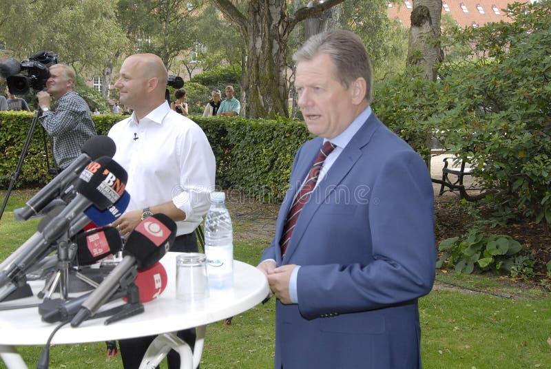 DENMARK_LARS BARFOED_SOREN PAPE POULSEN. COPENHAGEN /DENMARK- Lars Barfoed in blue suit resigned from leadership and chairmanship from Conservative political royalty free stock image