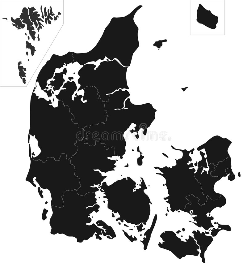 Denmark map. Blind map of Denmark with regions borders. Names of the regions, main cities, and neighbouring countries are in an additional format (.AI) in the