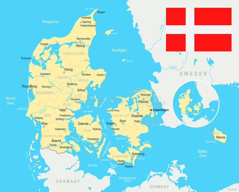 Denmark Map And Flag Illustration Stock Illustration