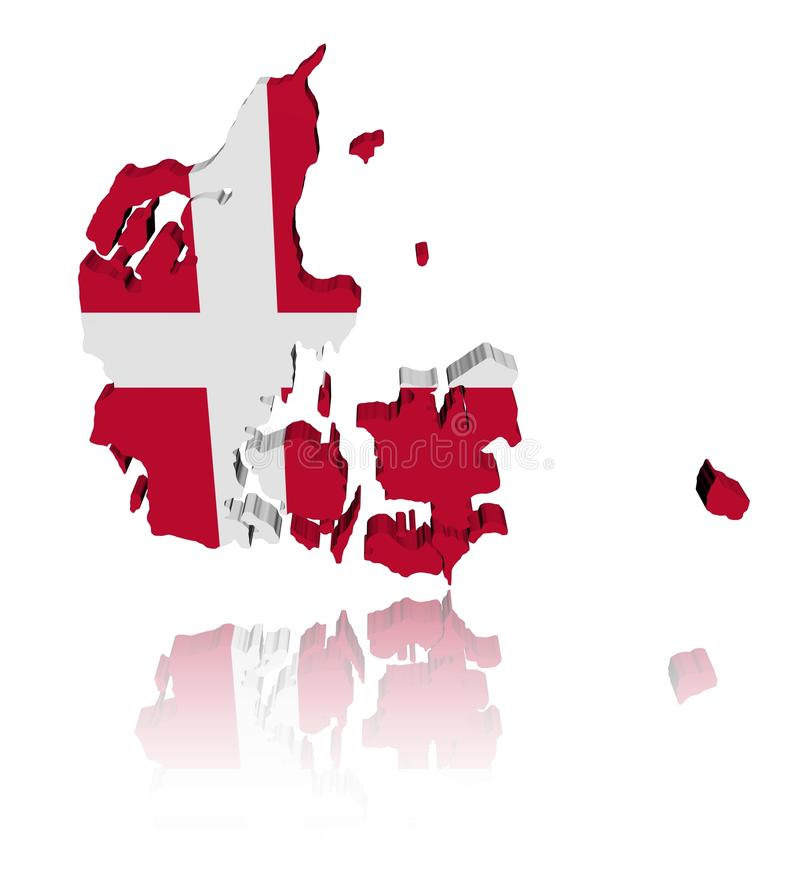 Download Denmark Map Flag With Reflection Stock Illustration - Illustration: 15796071