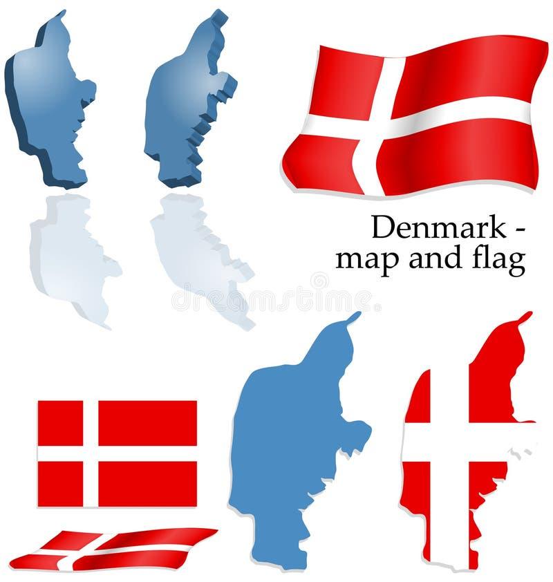 Denmark - map and flag set stock photos
