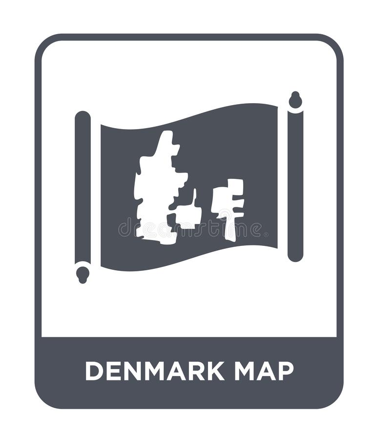 Denmark map icon in trendy design style. denmark map icon isolated on white background. denmark map vector icon simple and modern. Flat symbol for web site vector illustration