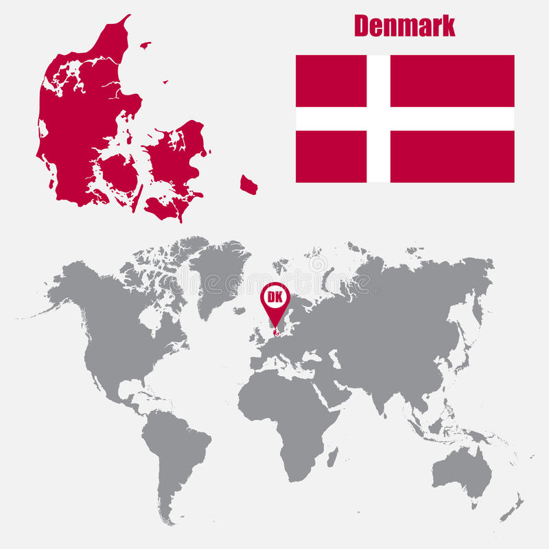 Denmark map on a world map with flag and map pointer vector download denmark map on a world map with flag and map pointer vector illustration stock gumiabroncs Choice Image