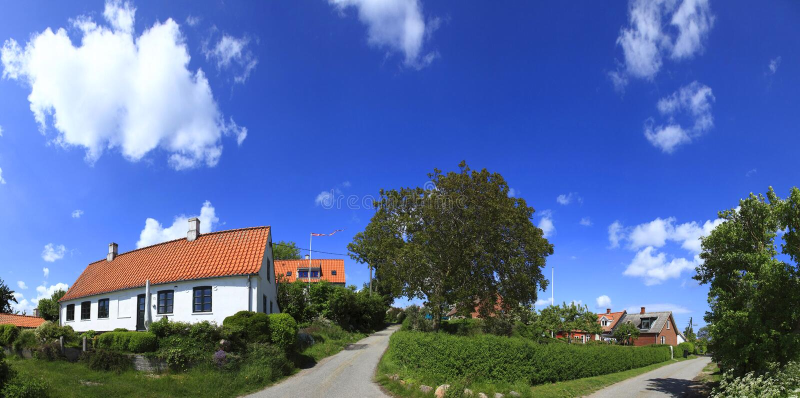 Denmark,Mon, Nyord island, the village. Denmark,Mon, Nyord island,overview of the small country in a sunny day royalty free stock photo