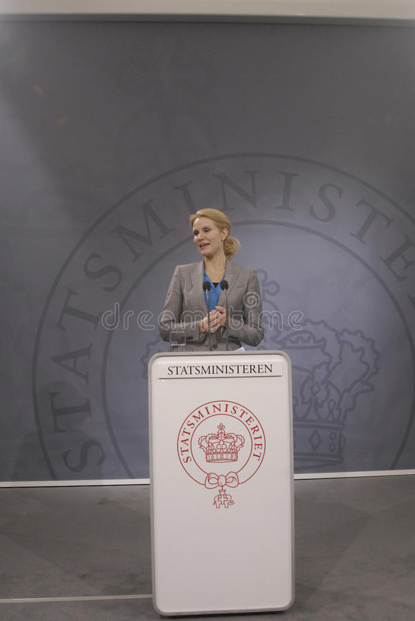 Ms.Helle Thorning-Scmidt danish prime minister. Copenhagen / Denmark. Ms.Helle Thornin-Schmidt danish prime minister holds heer weekly press conference and high stock images