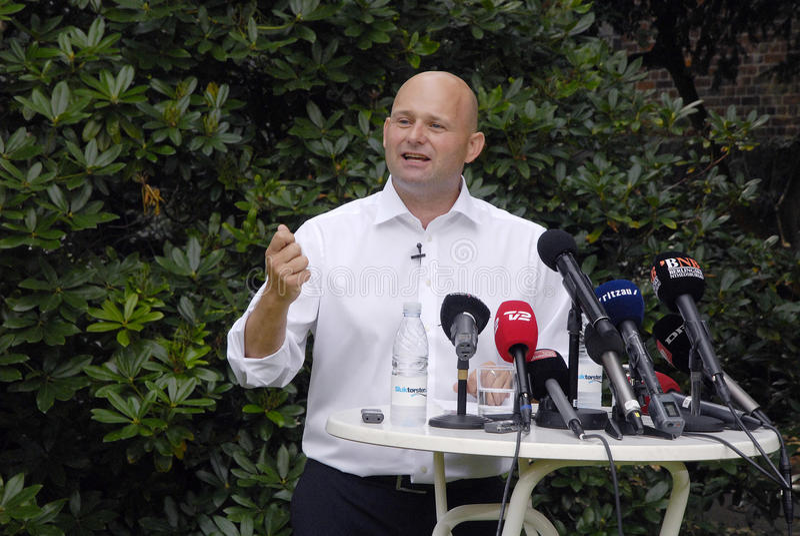DENMARK_S�REN PAPE POULSEN. COPENHAGEN /DENMARK- Soren Pape Poulsen(S�ren Pape Poulsen) new hand picked leader and chairman of danish conservative stock images