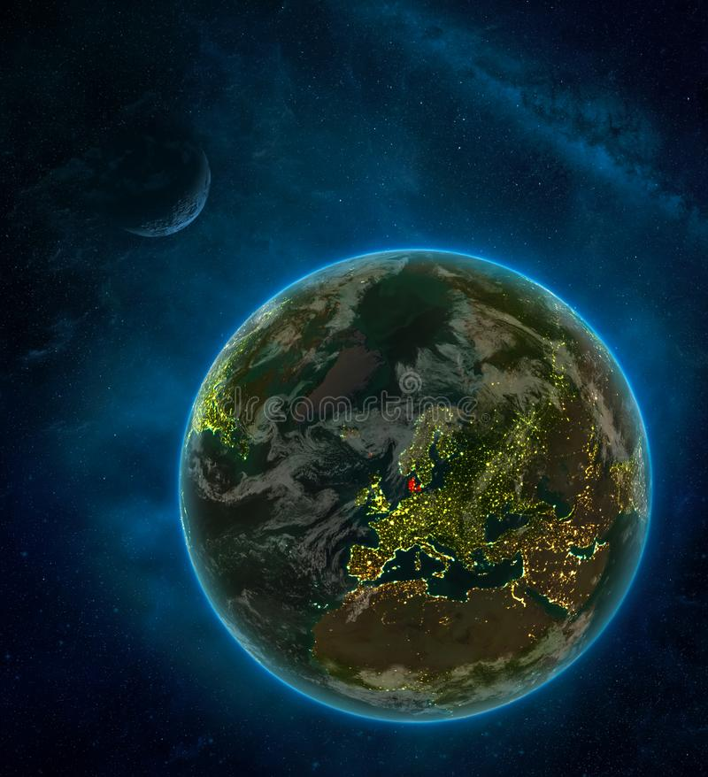 Denmark from space on Earth at night surrounded by space with Moon and Milky Way. Detailed planet with city lights and clouds. 3D. Illustration. Elements of vector illustration