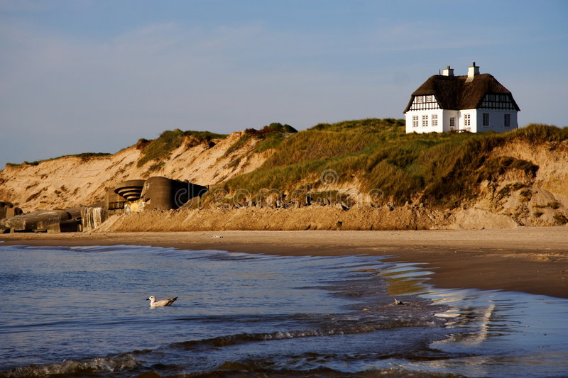 Download Denmark -White beach house stock image. Image of dunes - 7223573