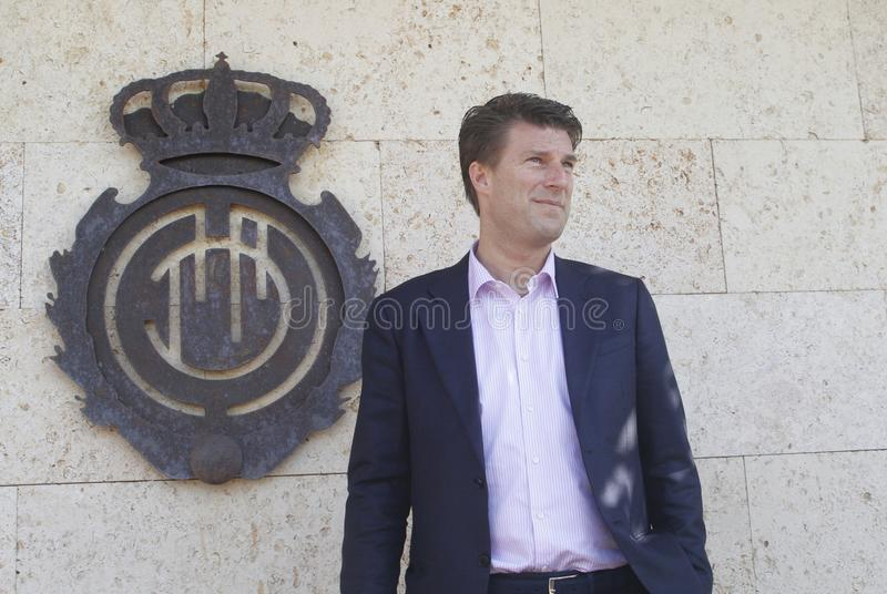 Denmarks Michael Laudrup soccer coach presentation in Mallorca wide royalty free stock image