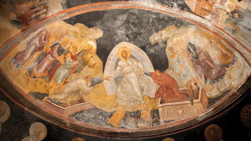 Jesus, Adam och helgdagsaftonFresco i det Kariye museet, Istanbul royaltyfria bilder