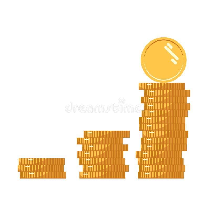 Denna är mappen av formatet EPS10 Bunt av det guld- myntet som inkomstgraf Bunt av mynt med myntet som är främst av det Digital v vektor illustrationer