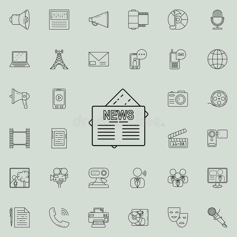 Denna är mappen av formatet EPS10 Detaljerad uppsättning av massmediasymboler Högvärdigt kvalitets- tecken för grafisk design En  royaltyfri illustrationer