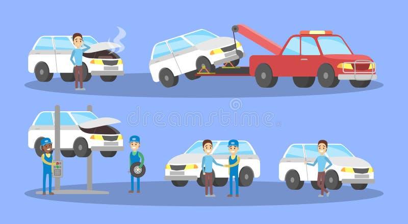 Denna är mappen av formatet EPS8 Mekaniker reparerar den brutna bilen stock illustrationer
