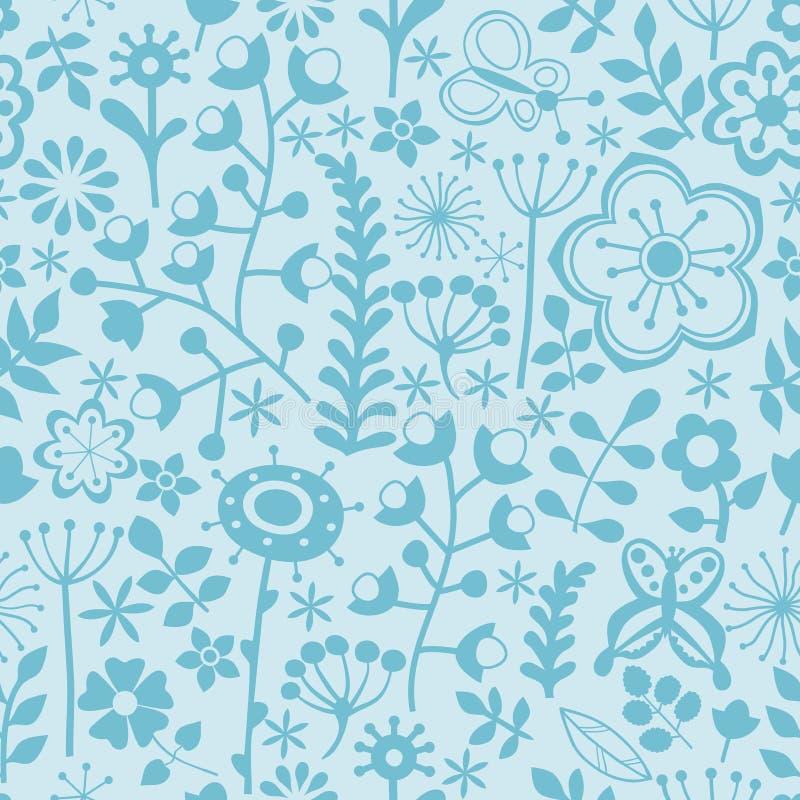 Denna är mappen av formatet EPS8 Svartvit sömlös botanisk textur stock illustrationer