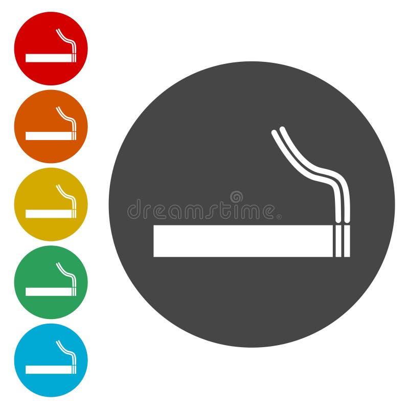 Denna är mappen av formatet EPS10 Tobaktecken Röka symbol stock illustrationer