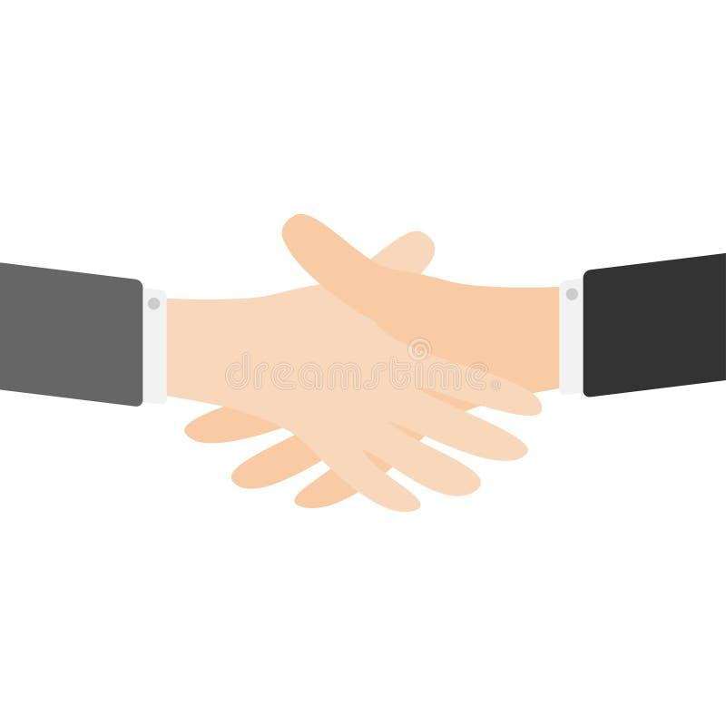Denna är mappen av formatet EPS10 Två affärsmanhandarmar som till varandra når uppröra för händer Slut upp kroppsdelen hjälpa för royaltyfri illustrationer