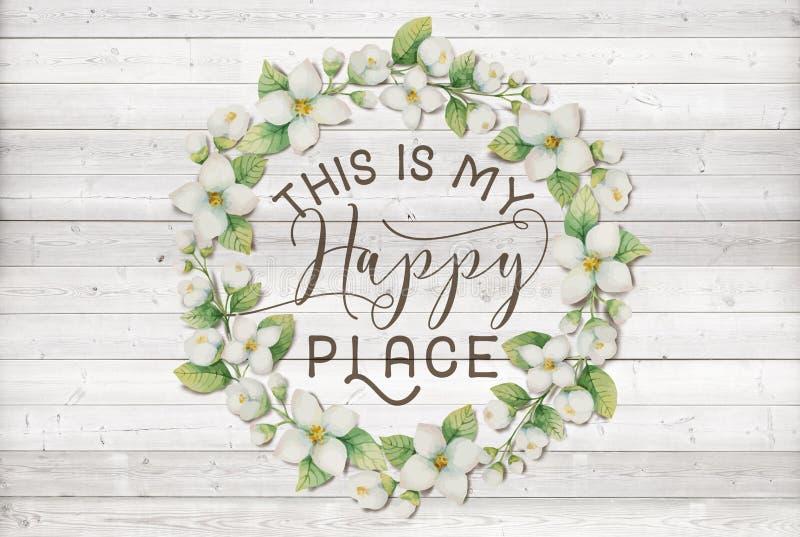 Denna är min blom- krans för lycklig ställebomull med träsjaskig chic bakgrund stock illustrationer