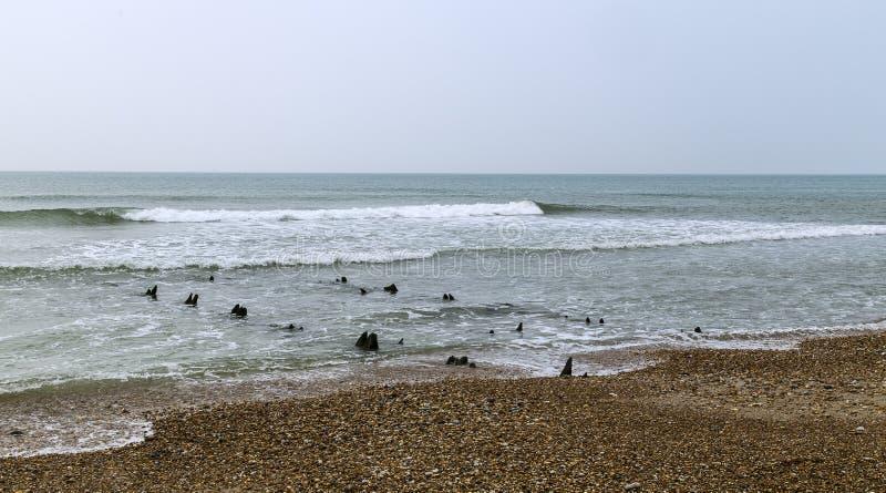 Denna är Opal Coast är en kust- remsa i denFrankrike regionen av nordliga Frankrike royaltyfria foton