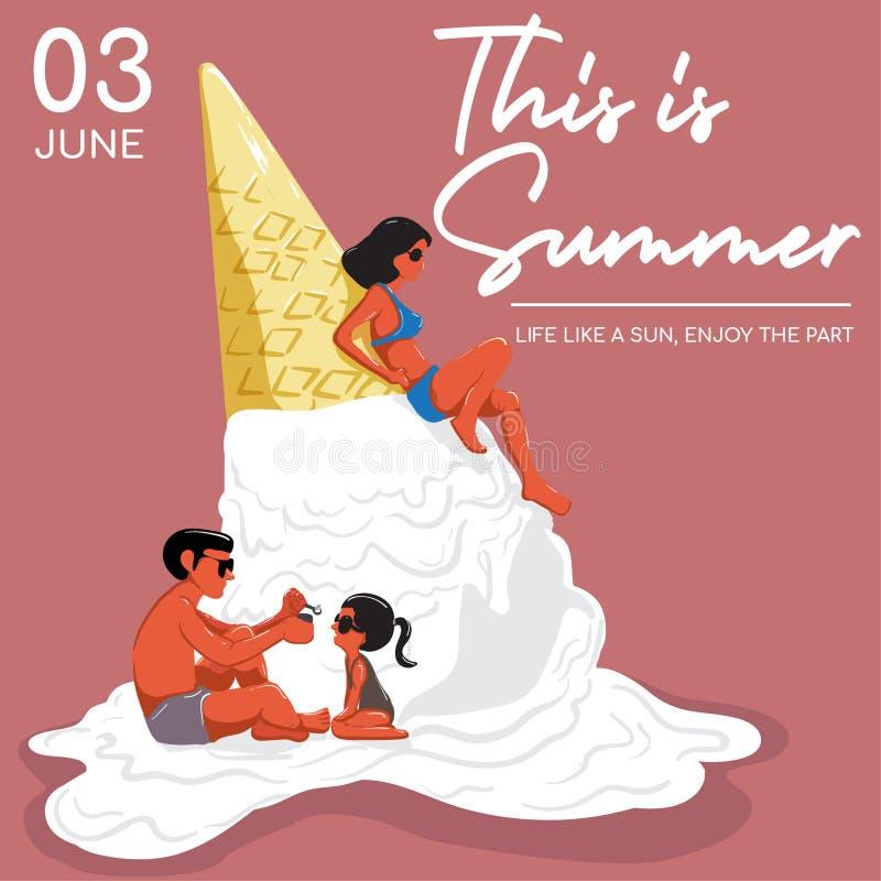 Denna är sommardesignen stock illustrationer