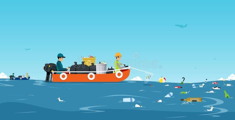 Denna śmieciarska łódź royalty ilustracja