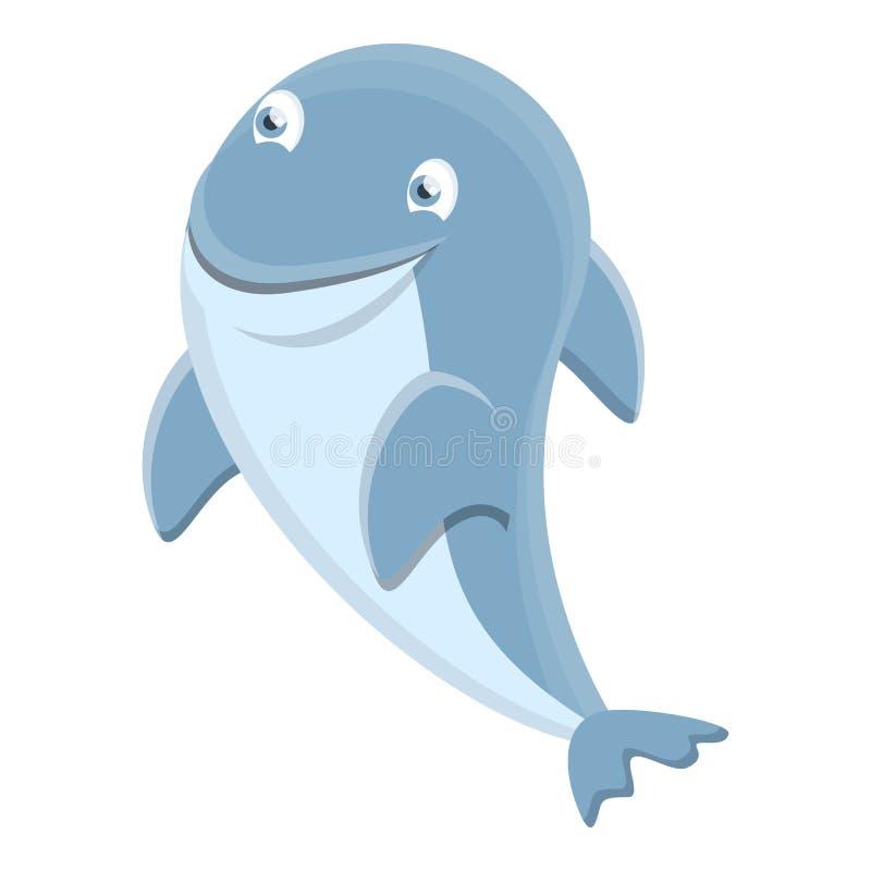 Denna delfin ikona, kreskówka styl royalty ilustracja