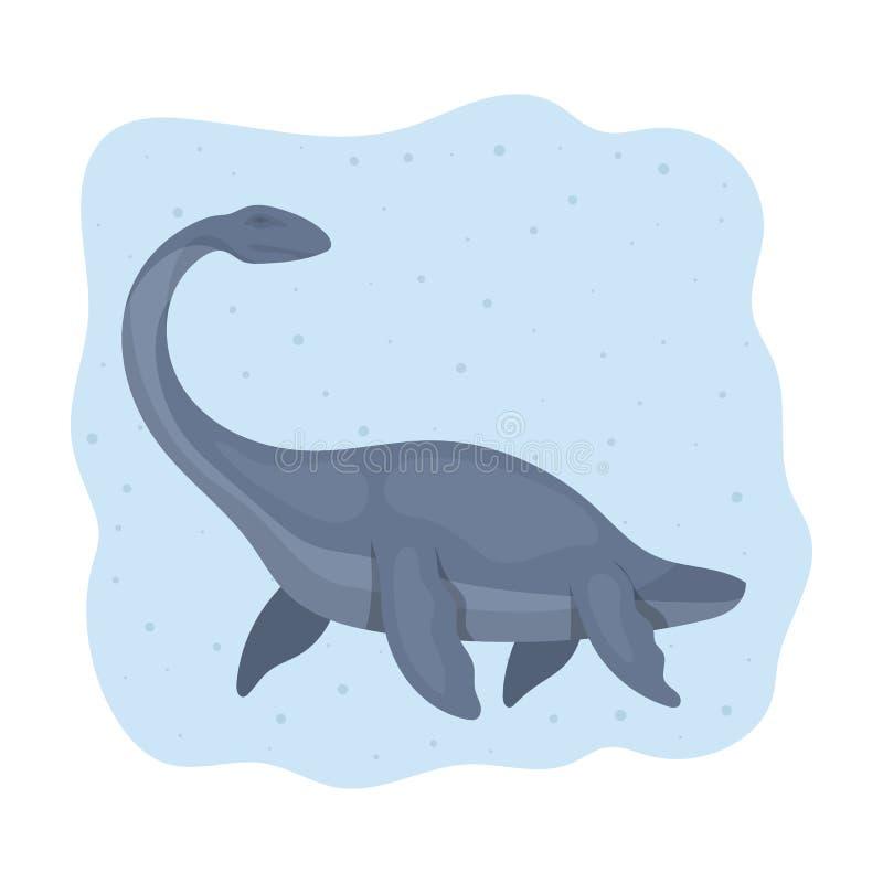 Denna dinosaur ikona w kreskówka stylu odizolowywającym na białym tle Dinosaury i prehistoryczny symbolu zapasu wektor ilustracji