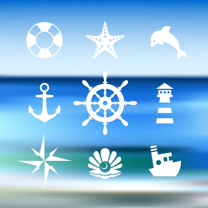 Denna ikony kolekcja odizolowywająca na błękitne wody ilustracji