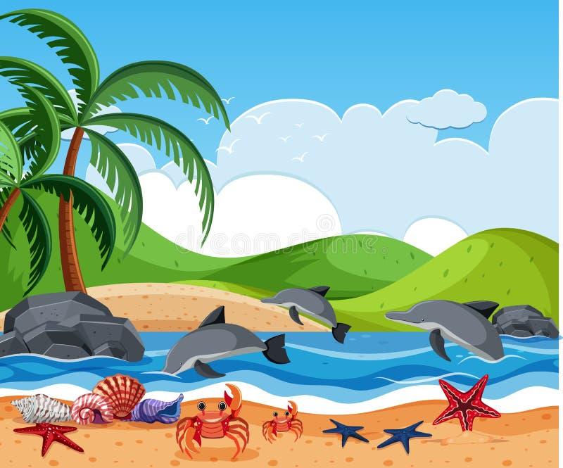 Denna istota przy plażą ilustracji