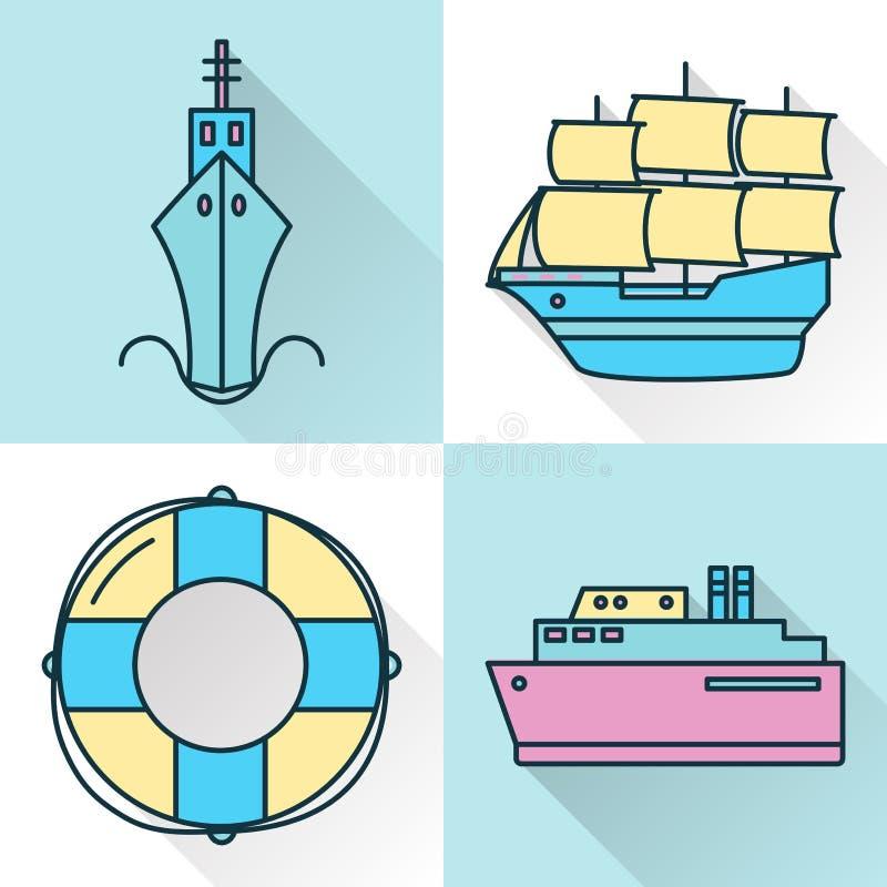 Denna kolekcja statek i nautyczne ikony w kreskowym stylu ilustracja wektor
