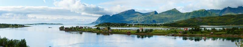 Denna lata wybrzeża panorama Norwegia, Lofoten (,) obraz royalty free