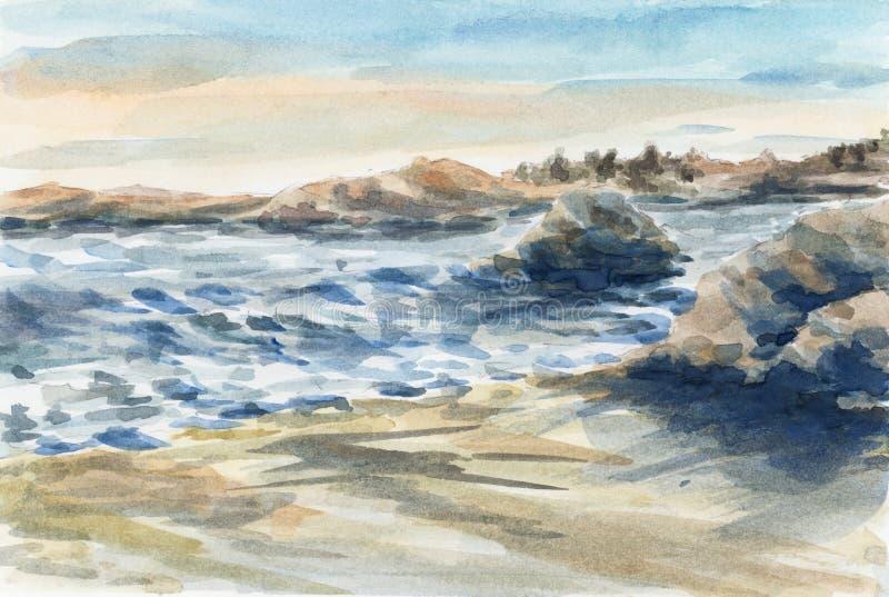 Denna linia brzegowa z skałami na plaży royalty ilustracja