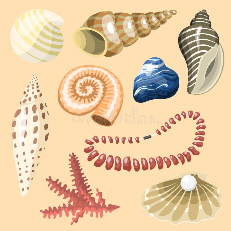 Denna morskich zwierząt i skorup pamiątek kreskówki ilustraci wektorowej spirali mollusk mussel tropikalna dekoracja royalty ilustracja