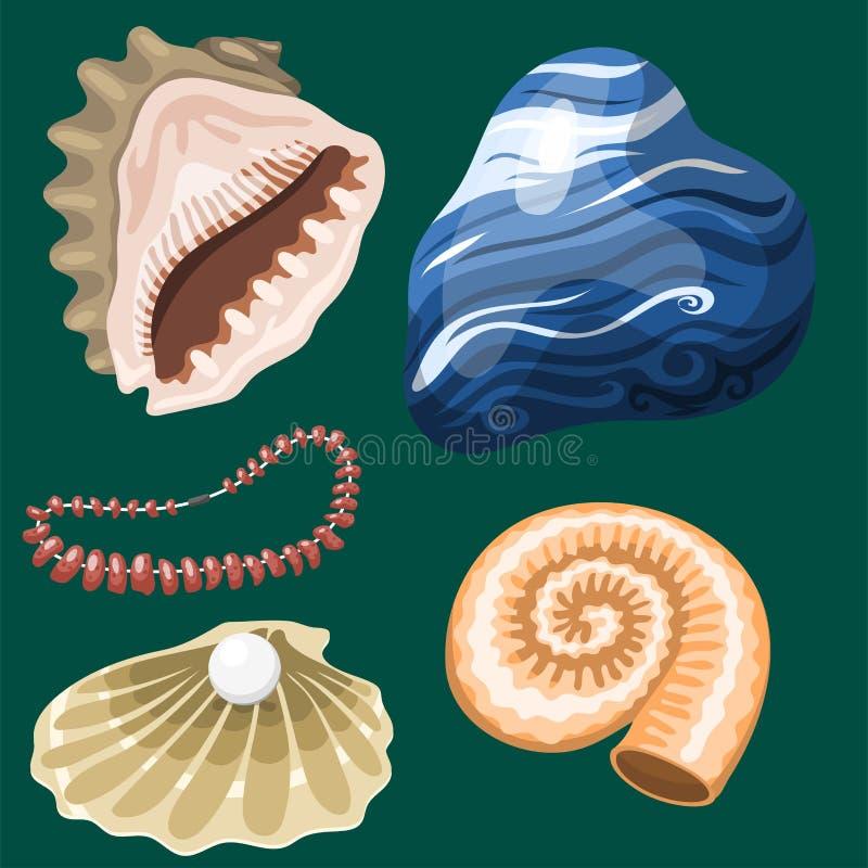 Denna morskich zwierząt i skorup pamiątek kreskówki ilustraci wektorowej spirali mollusk mussel tropikalna dekoracja ilustracji