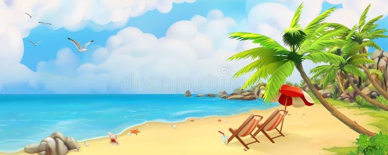 Denna panorama tropikalny na plaży Wektorowy tło ilustracji