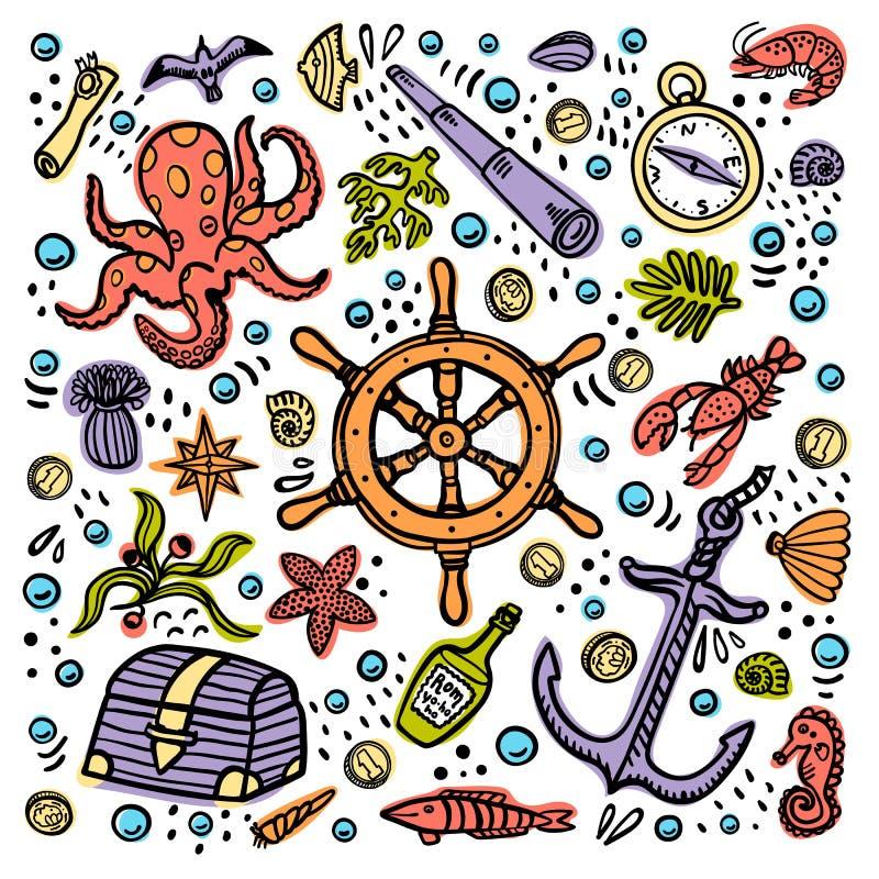 Denna przygody karta Morska ręka rysujący wektorów przedmioty Doodle stylowa wektorowa ilustracja ilustracja wektor