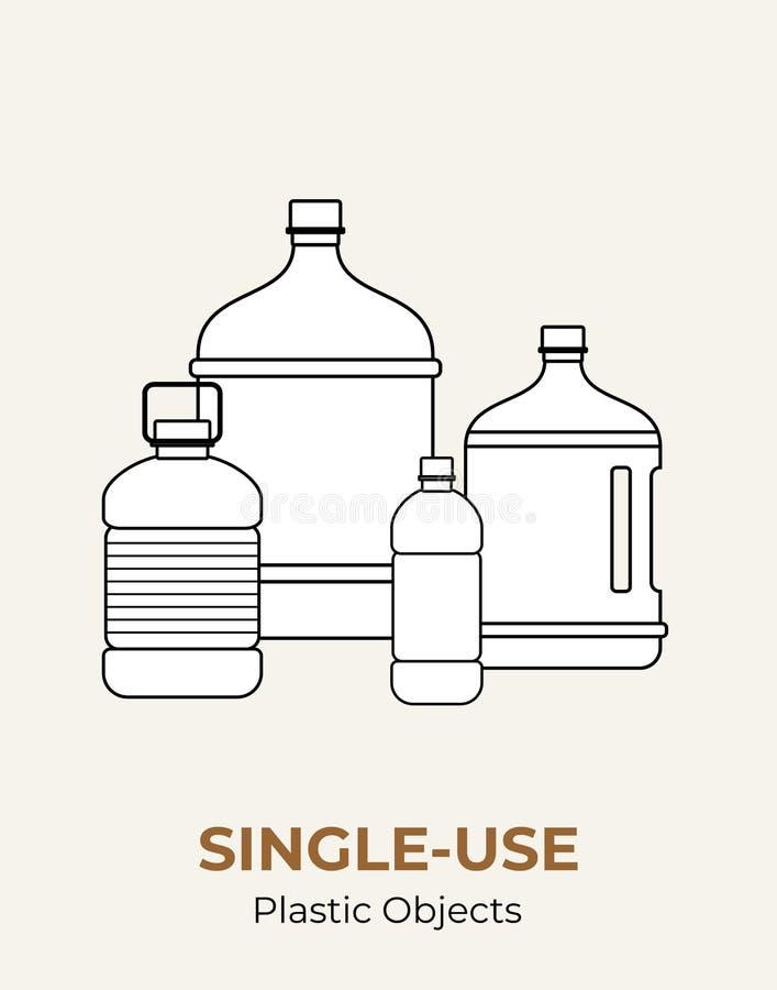 Denna ?r mappen av formatet EPS8 Vektorillustration av singel-bruk som återanvänder plast- stora flaskor Isolerad genomskinlig fl stock illustrationer
