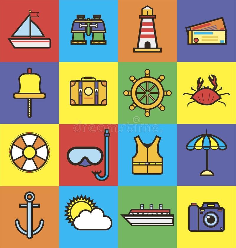 Denna rejs podróż lub lato oceanu wakacje wektorowe płaskie ikony ilustracja wektor