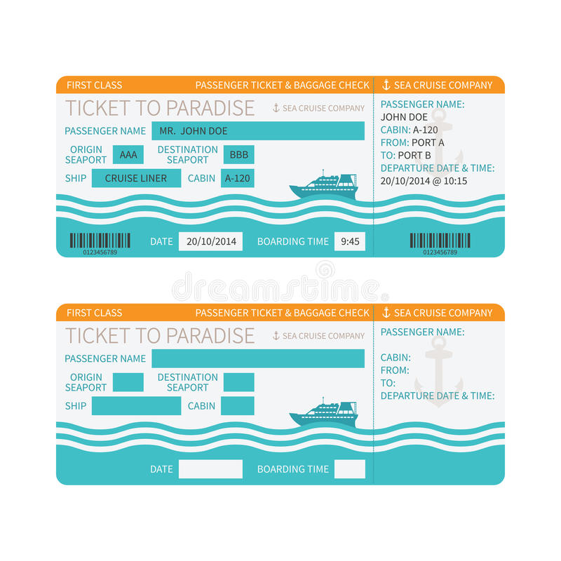 Denna statku wycieczkowego abordażu przepustka lub bileta szablon royalty ilustracja