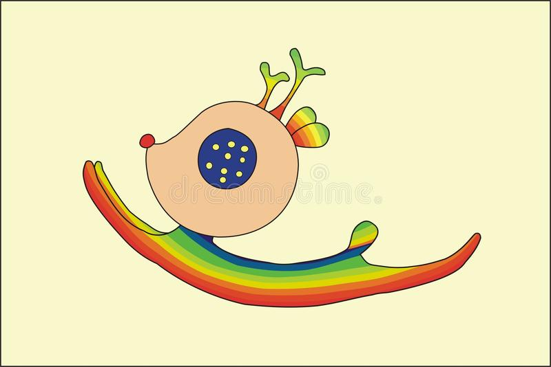 Tecknad filmbanhoppninghjortar i regnbåge mönstrar stock illustrationer
