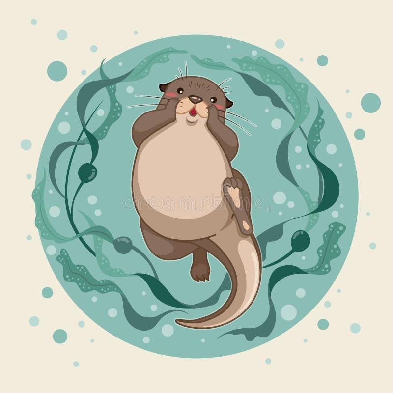 Denna wydra unosi się na wodzie z kelp lasem ilustracja wektor