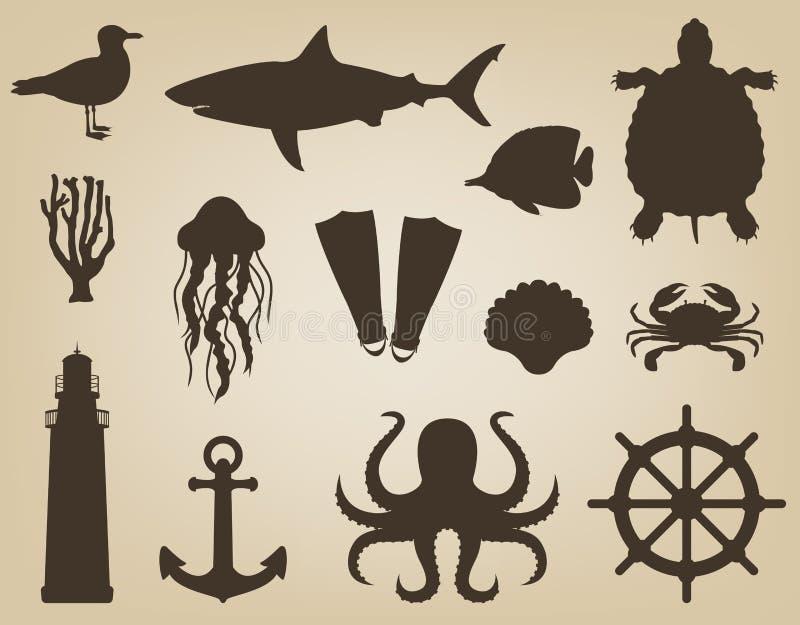 Denne ikony i symbole ustawiający Denni zwierzęta Nautyczni projektów elementy wektor royalty ilustracja