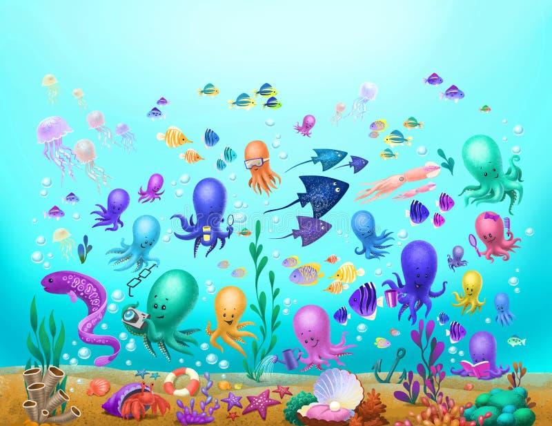 Denne istoty, ośmiornica, jellyfish obrazy royalty free