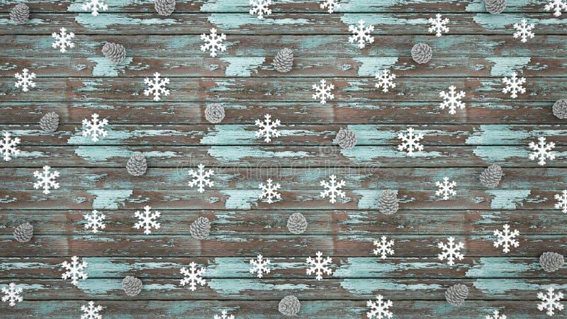 Denneappel en Sneeuwvlok op lichtblauwe oude houten achtergrond - kunstwerk voor Kerstmisdag of gelukkig nieuw jaar - 3D illustra stock foto's