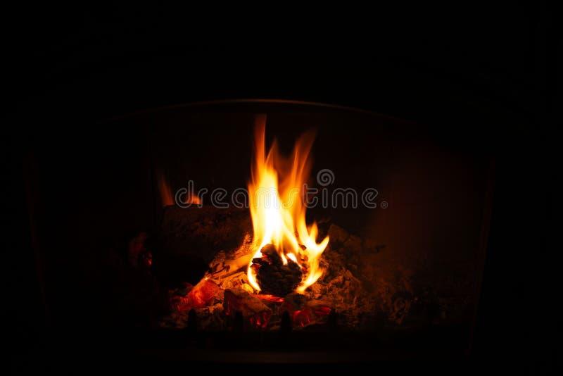 Denneappel het branden in open haard stock foto's