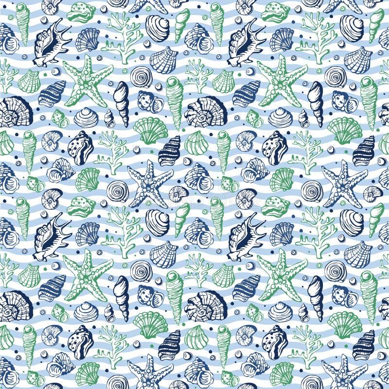 Dennego życia żołnierz piechoty morskiej łuska, koralowa i podwodna ręka rysujący gwiazdy stylowy wektorowy bezszwowy deseniowy t royalty ilustracja