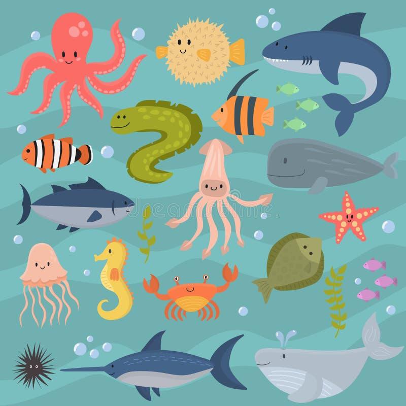 Dennego życia kreskówki podwodnych zwierząt śliczni morscy charaktery łowią akwarium tropikalną nadwodną wektorową ilustrację royalty ilustracja