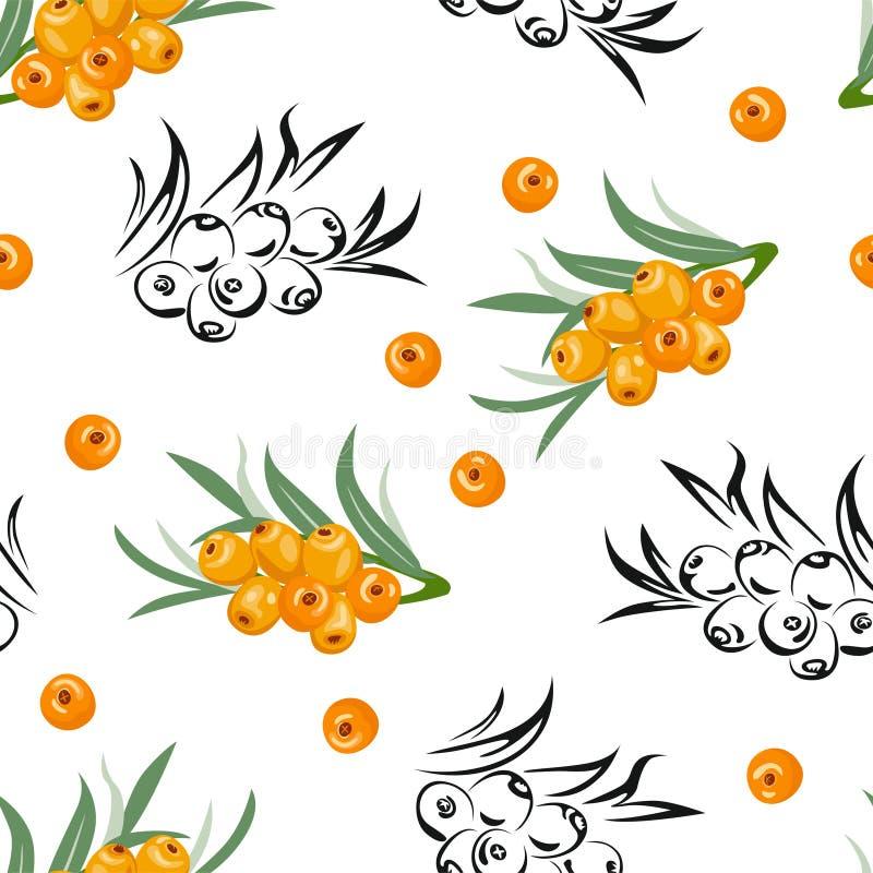 Dennego buckthorn bezszwowy wz?r Żółte jagody z zielonymi liśćmi ilustracji
