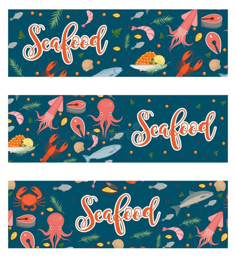Dennego jedzenia horyzontalny sztandar, mieszkanie styl Owoce morza szablon dla twój projekta Podwodny świat, życie również zwróc ilustracji