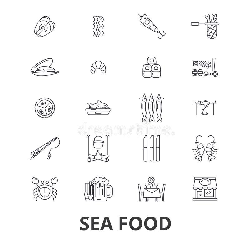 Dennego jedzenia powiązane ikony ilustracji
