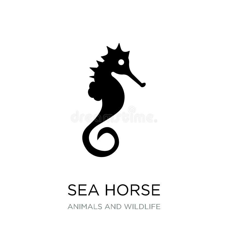 dennego konia ikona w modnym projekta stylu Dennego konia ikona odizolowywająca na białym tle dennego konia wektorowej ikony pros ilustracji
